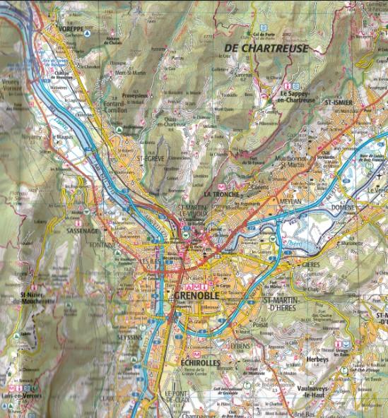 Carte IGN TOP 157 - Grenoble, Valence, Montélimar