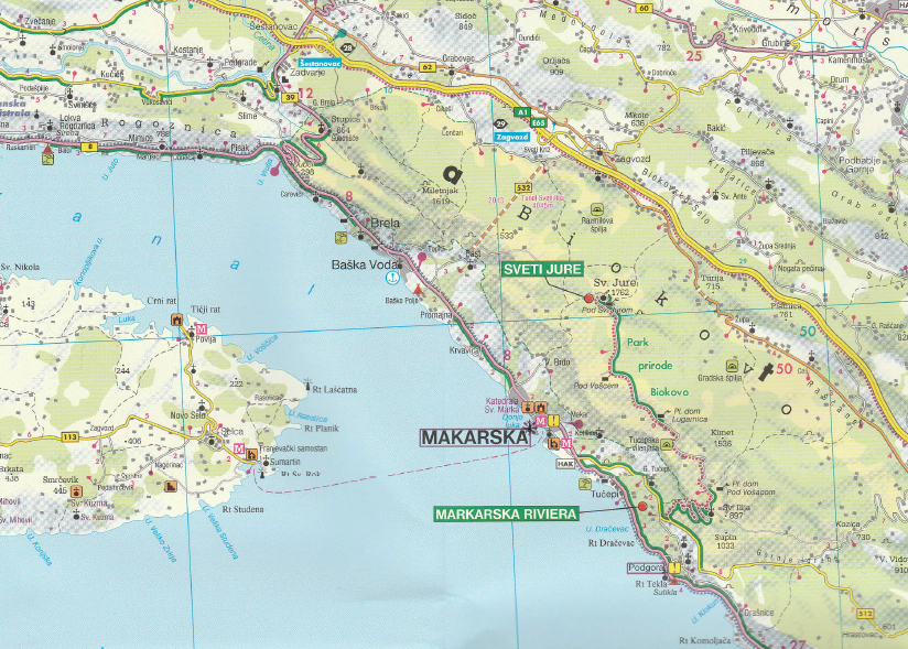 Carte Cote Croatie.Carte Cote Sud Croatie