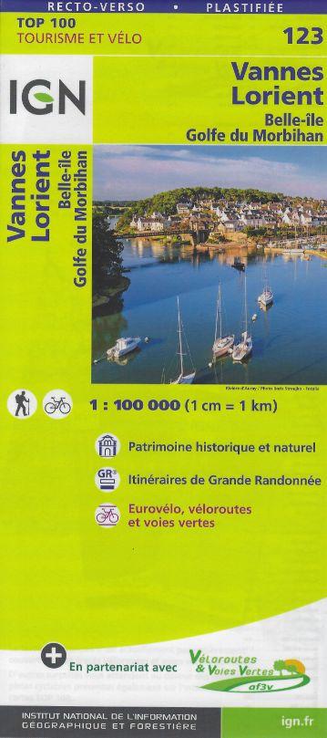 IGN TOP 123 - Vannes, Lorient, Belle-Ile, Golfe du Morbihan