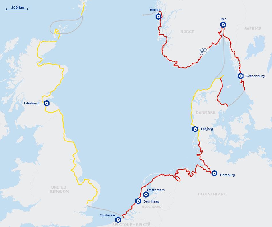 Carte Angleterre Danemark.Eurovelo 12 La Veloroute De La Mer Du Nord